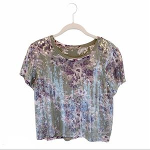 Chan Luu | Allover Sequin Blouse Tee Short Sleeve
